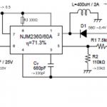 NJM2360(MC34063)を使って負電圧-5V100mAを作りました。